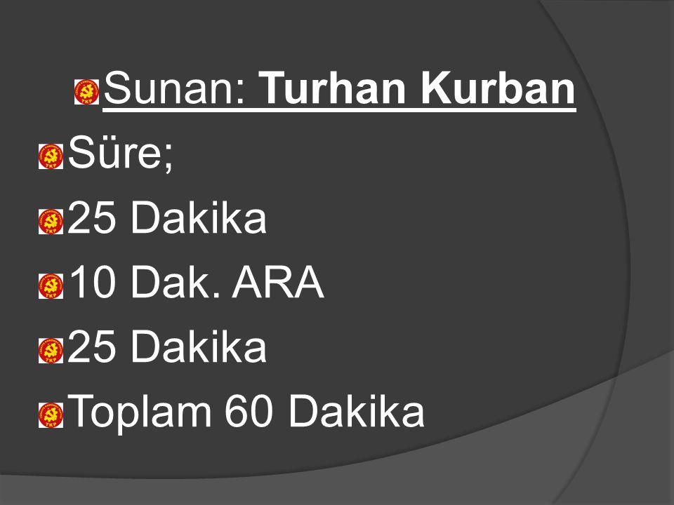 Sunan: Turhan Kurban Süre; 25 Dakika 10 Dak. ARA Toplam 60 Dakika