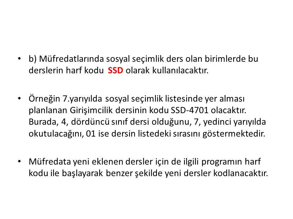 b) Müfredatlarında sosyal seçimlik ders olan birimlerde bu derslerin harf kodu SSD olarak kullanılacaktır.