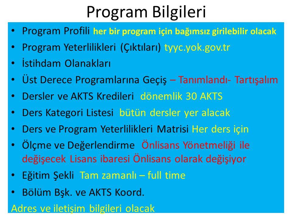 Program Bilgileri Program Profili her bir program için bağımsız girilebilir olacak. Program Yeterlilikleri (Çıktıları) tyyc.yok.gov.tr.