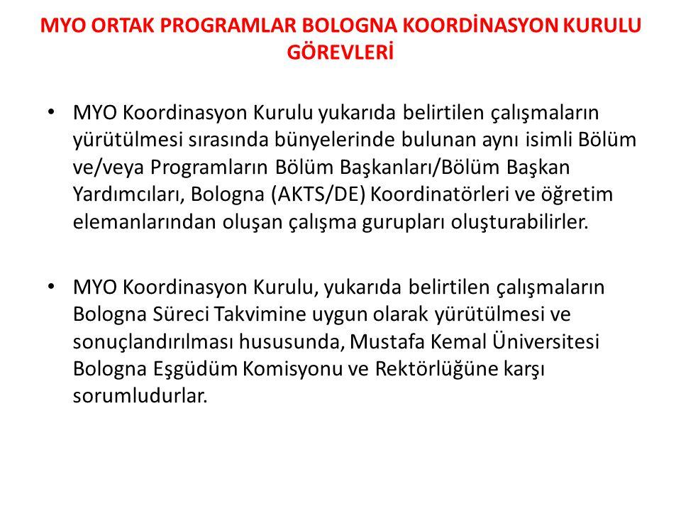 MYO ORTAK PROGRAMLAR BOLOGNA KOORDİNASYON KURULU GÖREVLERİ