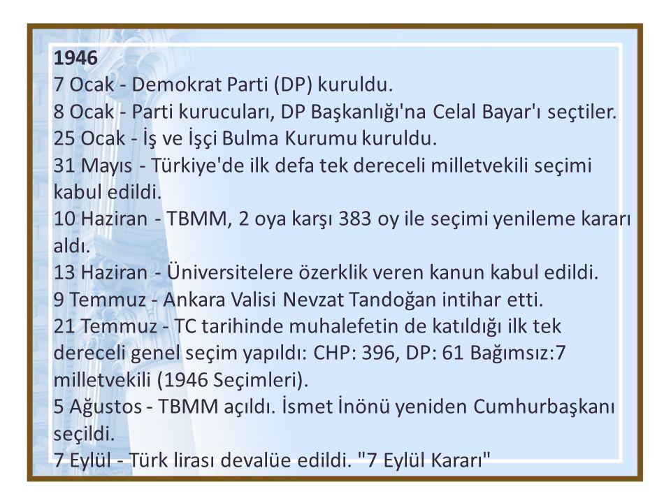 1946 7 Ocak - Demokrat Parti (DP) kuruldu. 8 Ocak - Parti kurucuları, DP Başkanlığı na Celal Bayar ı seçtiler.