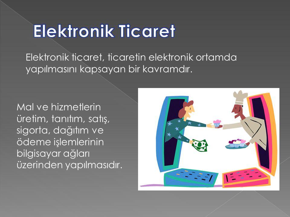 Elektronik Ticaret Elektronik ticaret, ticaretin elektronik ortamda yapılmasını kapsayan bir kavramdır.