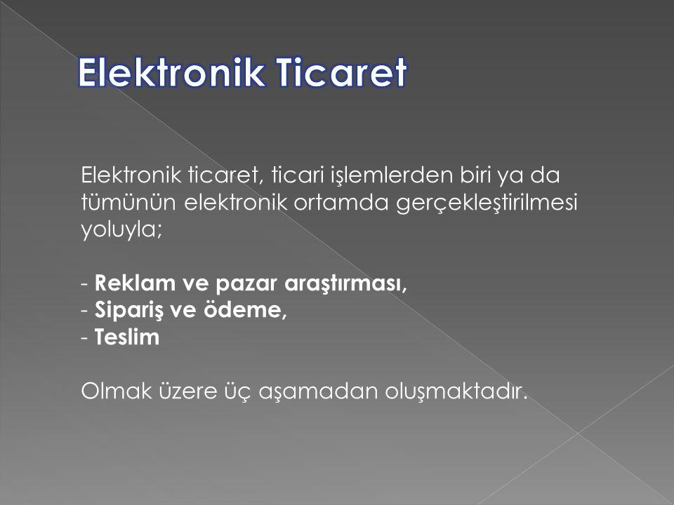 Elektronik Ticaret Elektronik ticaret, ticari işlemlerden biri ya da tümünün elektronik ortamda gerçekleştirilmesi yoluyla;