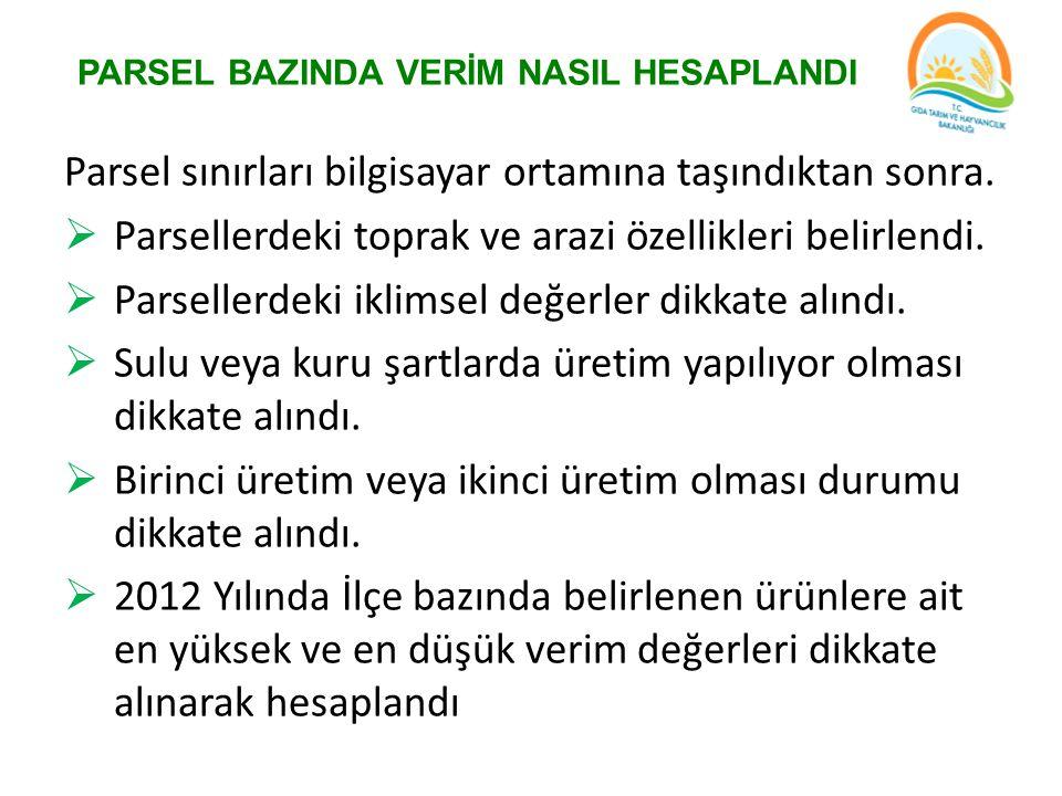 PARSEL BAZINDA VERİM NASIL HESAPLANDI