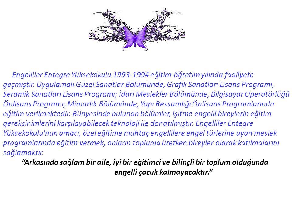 Engelliler Entegre Yüksekokulu 1993-1994 eğitim-öğretim yılında faaliyete