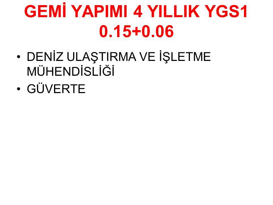 GEMİ YAPIMI 4 YILLIK YGS1 0.15+0.06
