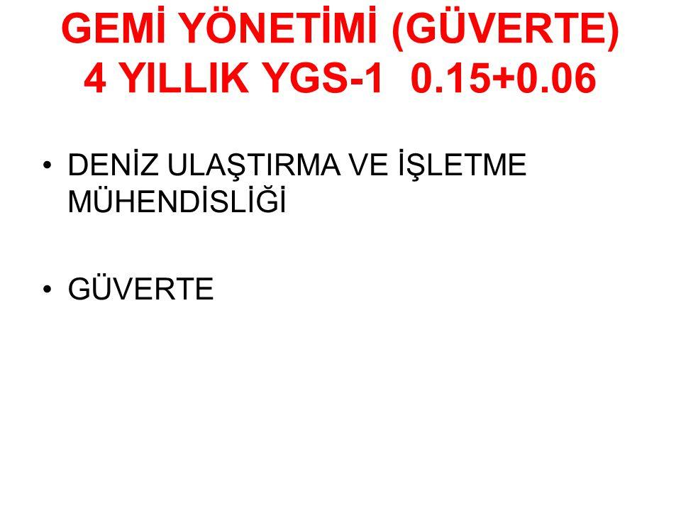 GEMİ YÖNETİMİ (GÜVERTE) 4 YILLIK YGS-1 0.15+0.06