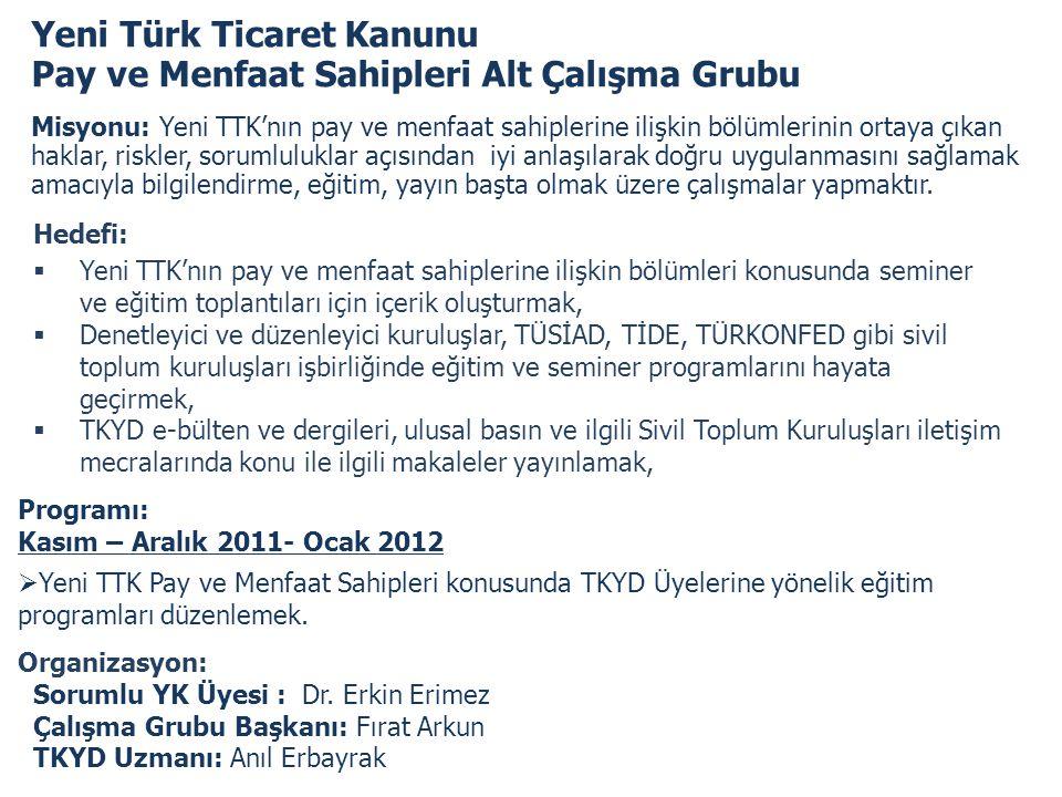 Yeni Türk Ticaret Kanunu Pay ve Menfaat Sahipleri Alt Çalışma Grubu