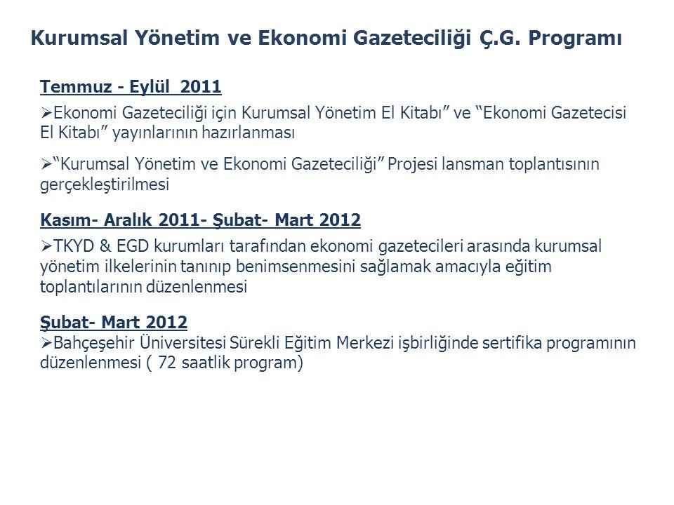 Kurumsal Yönetim ve Ekonomi Gazeteciliği Ç.G. Programı