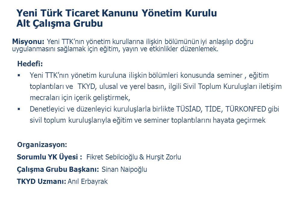 Yeni Türk Ticaret Kanunu Yönetim Kurulu Alt Çalışma Grubu
