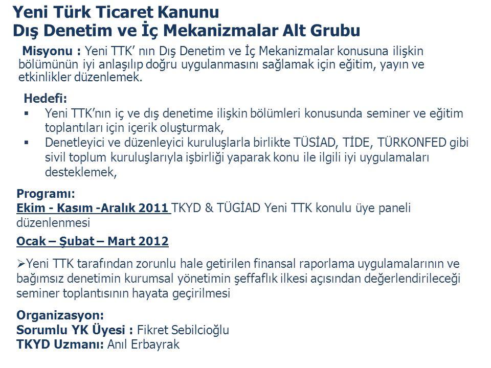 Yeni Türk Ticaret Kanunu Dış Denetim ve İç Mekanizmalar Alt Grubu
