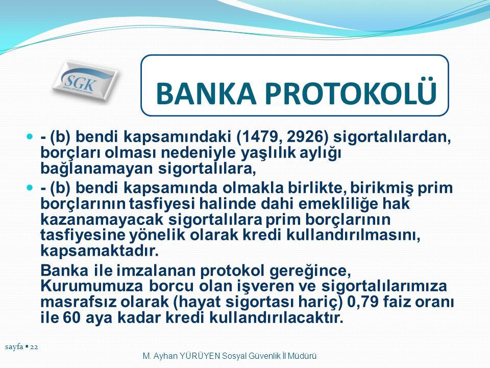 BANKA PROTOKOLÜ - (b) bendi kapsamındaki (1479, 2926) sigortalılardan, borçları olması nedeniyle yaşlılık aylığı bağlanamayan sigortalılara,
