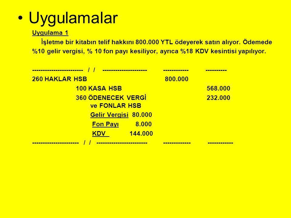 Uygulamalar Uygulama 1. İşletme bir kitabın telif hakkını 800.000 YTL ödeyerek satın alıyor. Ödemede.