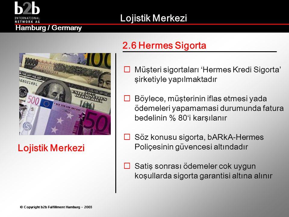 2.6 Hermes Sigorta Müşteri sigortaları 'Hermes Kredi Sigorta' şirketiyle yapılmaktadır.
