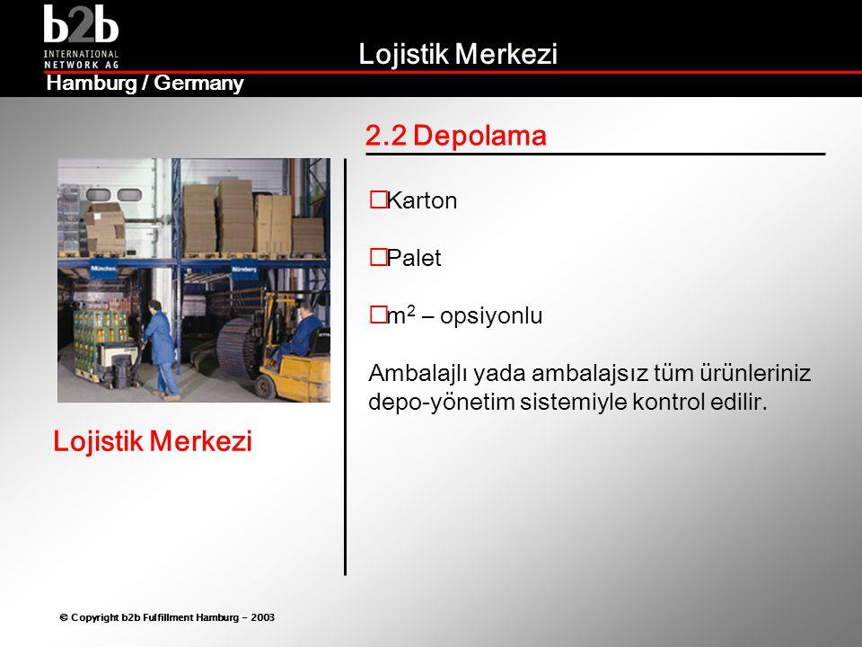 2.2 Depolama Karton Palet m2 – opsiyonlu