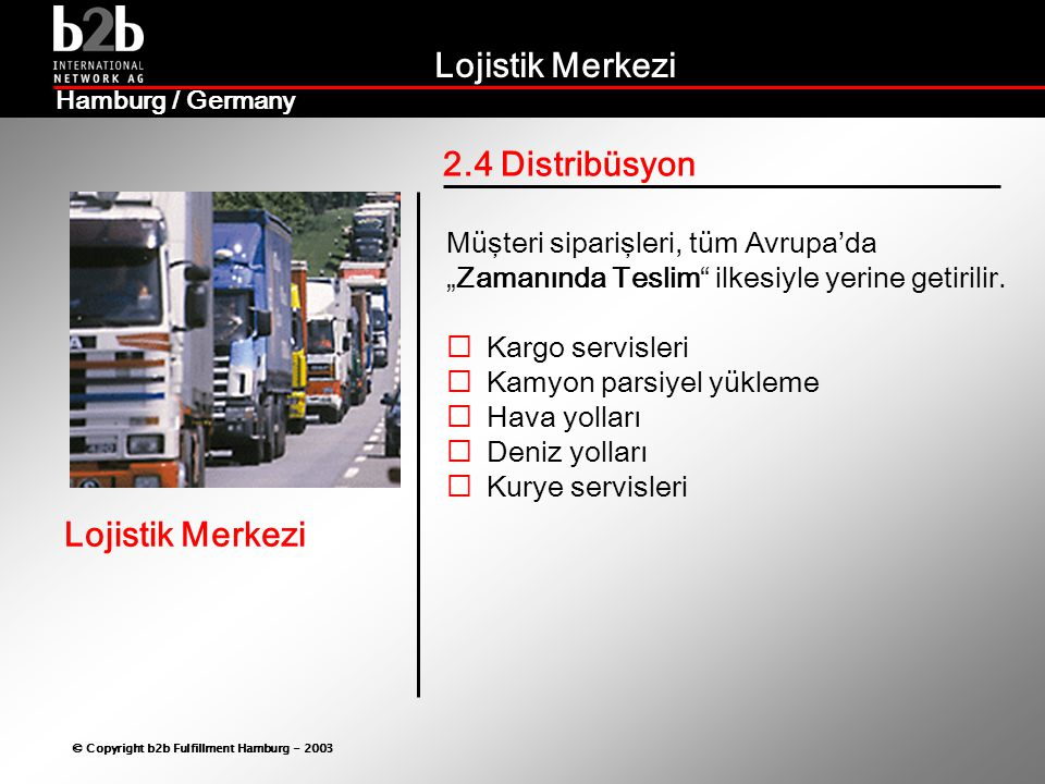 2.4 Distribüsyon Müşteri siparişleri, tüm Avrupa'da