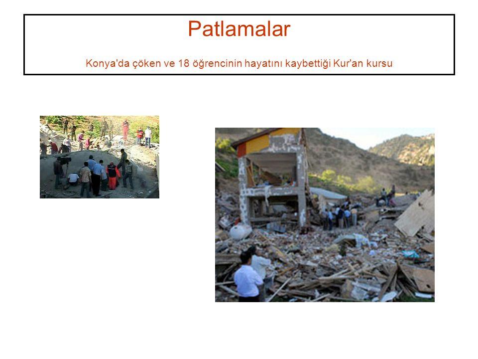 Patlamalar Konya da çöken ve 18 öğrencinin hayatını kaybettiği Kur an kursu