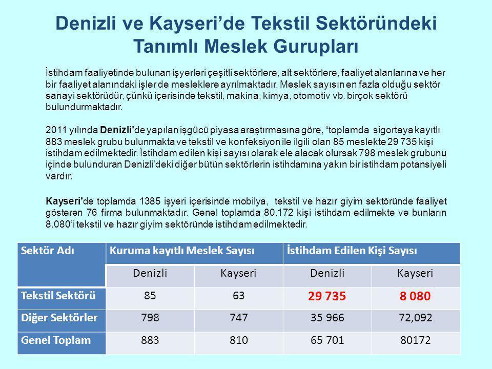 Denizli ve Kayseri'de Tekstil Sektöründeki Tanımlı Meslek Gurupları