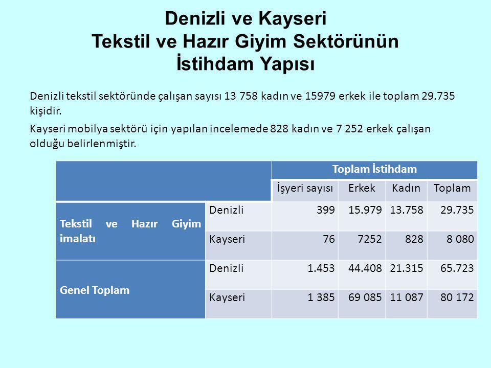 Denizli ve Kayseri Tekstil ve Hazır Giyim Sektörünün İstihdam Yapısı