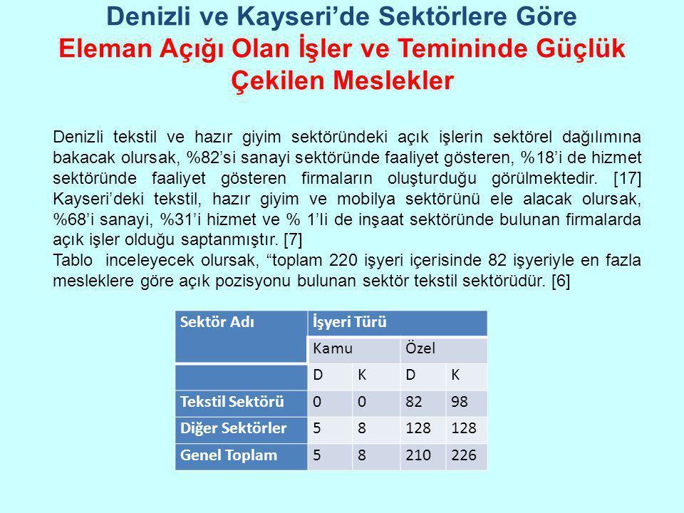 Denizli ve Kayseri'de Sektörlere Göre Eleman Açığı Olan İşler ve Temininde Güçlük Çekilen Meslekler