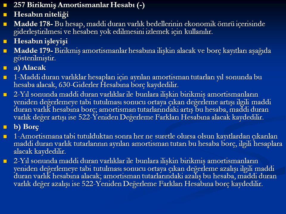 257 Birikmiş Amortismanlar Hesabı (-)