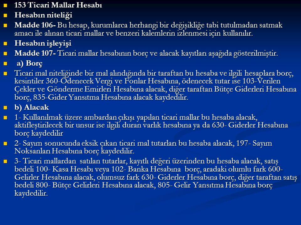 153 Ticari Mallar Hesabı Hesabın niteliği.