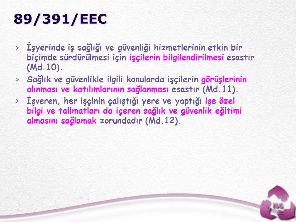 89/391/EEC İşyerinde iş sağlığı ve güvenliği hizmetlerinin etkin bir biçimde sürdürülmesi için işçilerin bilgilendirilmesi esastır (Md.10).