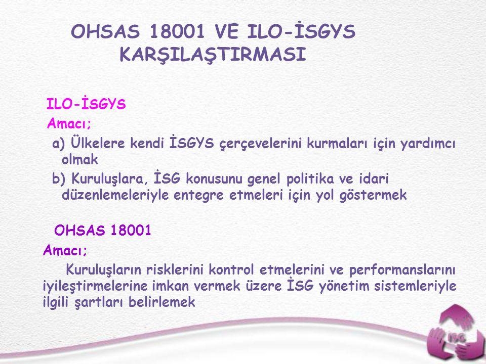 OHSAS 18001 VE ILO-İSGYS KARŞILAŞTIRMASI