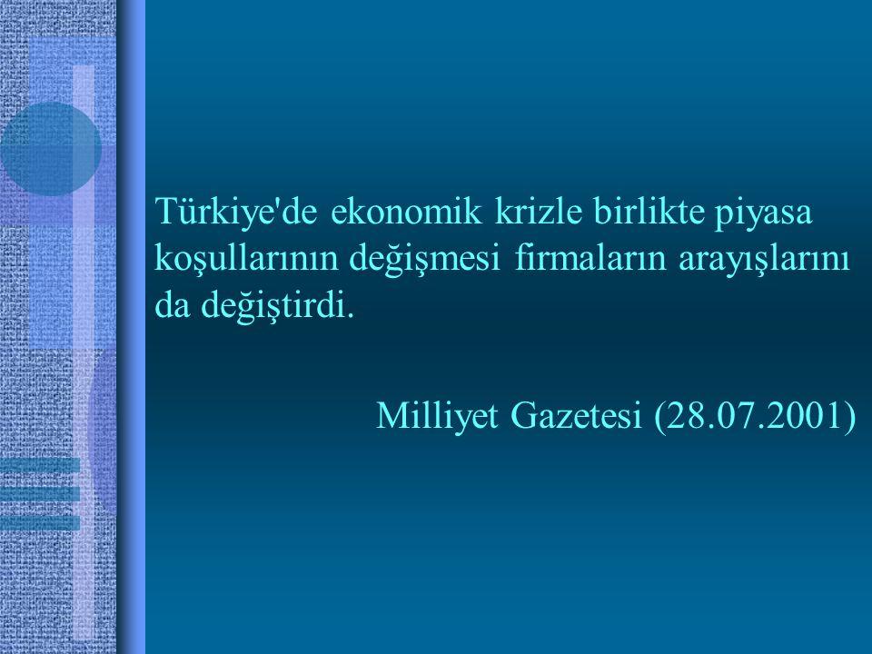 Türkiye de ekonomik krizle birlikte piyasa koşullarının değişmesi firmaların arayışlarını da değiştirdi.