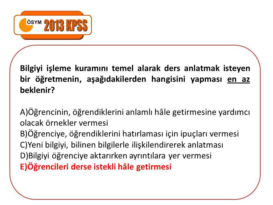 2013 KPSS Bilgiyi işleme kuramını temel alarak ders anlatmak isteyen bir öğretmenin, aşağıdakilerden hangisini yapması en az beklenir