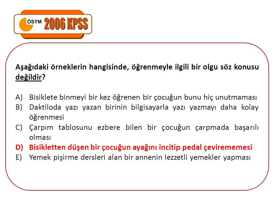 2006 KPSS Aşağıdaki örneklerin hangisinde, öğrenmeyle ilgili bir olgu söz konusu değildir