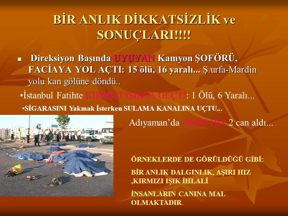 BİR ANLIK DİKKATSİZLİK ve SONUÇLARI!!!!