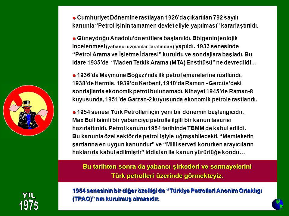 ● Cumhuriyet Dönemine rastlayan 1926'da çıkartılan 792 sayılı kanunla Petrol işinin tamamen devlet eliyle yapılması kararlaştırıldı.