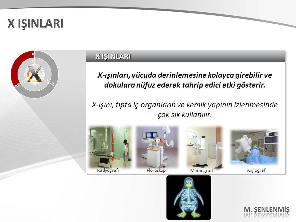X IŞINLARI X IŞINLARI. X-ışınları, vücuda derinlemesine kolayca girebilir ve dokulara nüfuz ederek tahrip edici etki gösterir.
