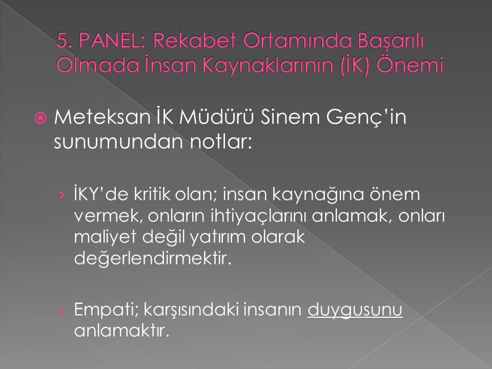 Meteksan İK Müdürü Sinem Genç'in sunumundan notlar: