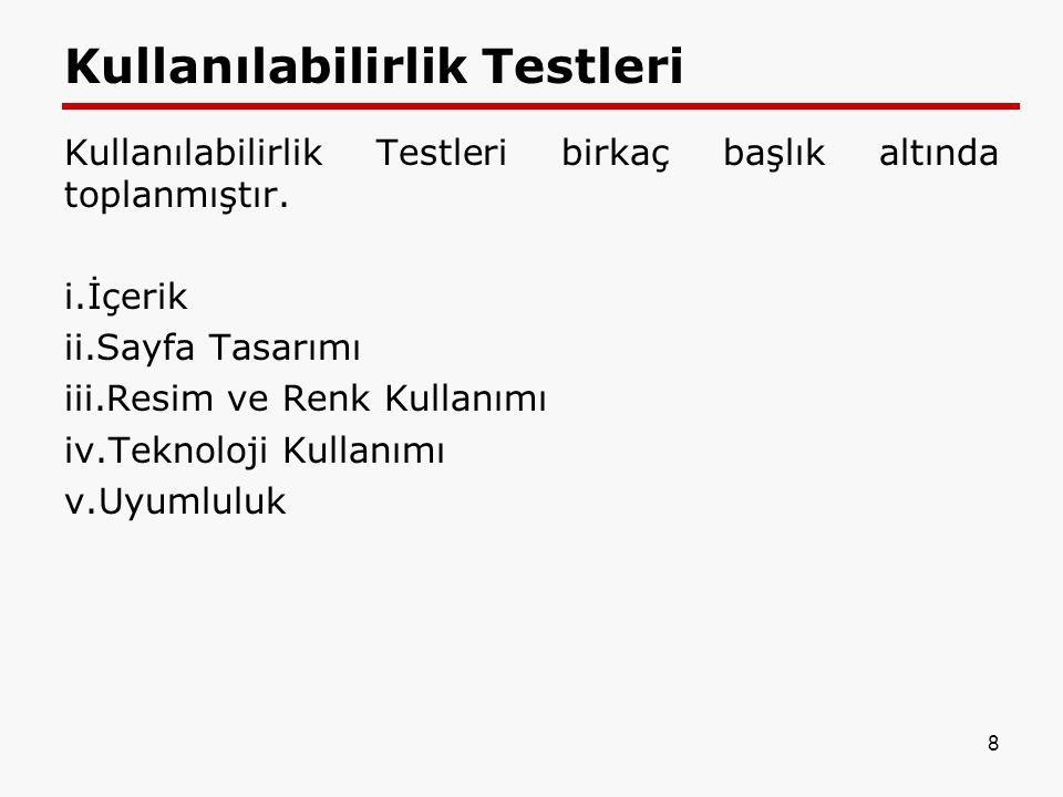 Kullanılabilirlik Testleri
