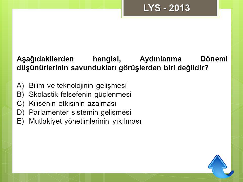 LYS - 2013 Aşağıdakilerden hangisi, Aydınlanma Dönemi düşünürlerinin savundukları görüşlerden biri değildir