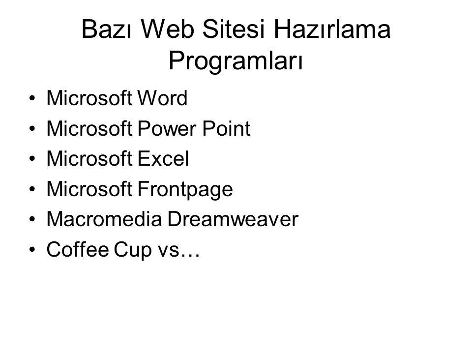Bazı Web Sitesi Hazırlama Programları