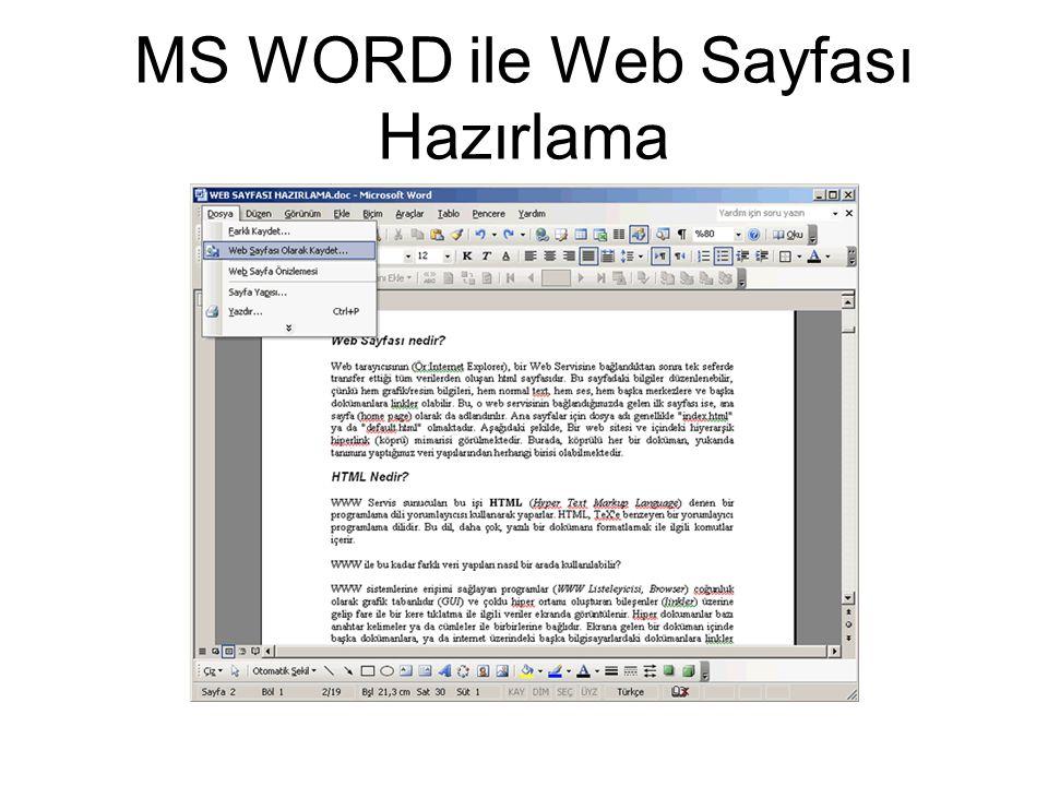 MS WORD ile Web Sayfası Hazırlama