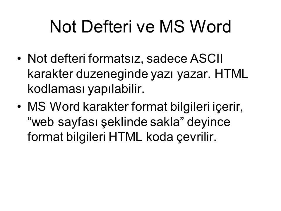 Not Defteri ve MS Word Not defteri formatsız, sadece ASCII karakter duzeneginde yazı yazar. HTML kodlaması yapılabilir.