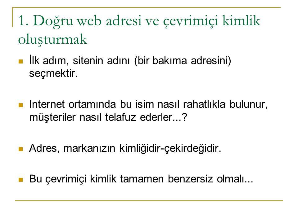 1. Doğru web adresi ve çevrimiçi kimlik oluşturmak