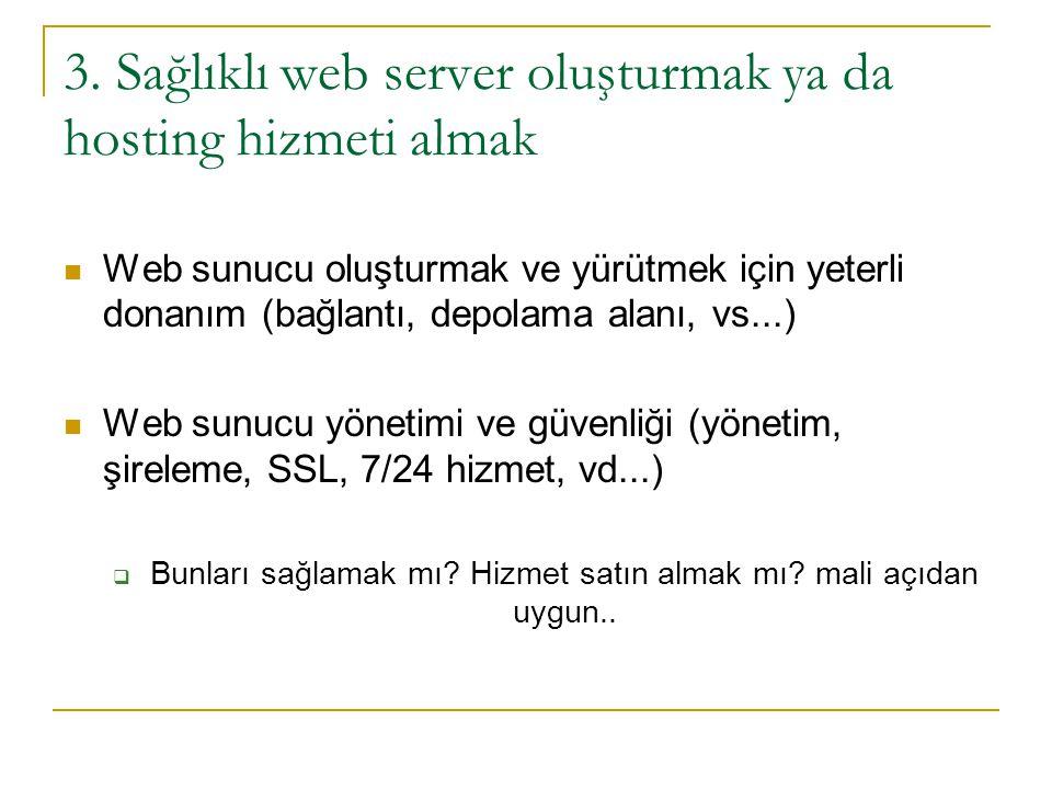 3. Sağlıklı web server oluşturmak ya da hosting hizmeti almak
