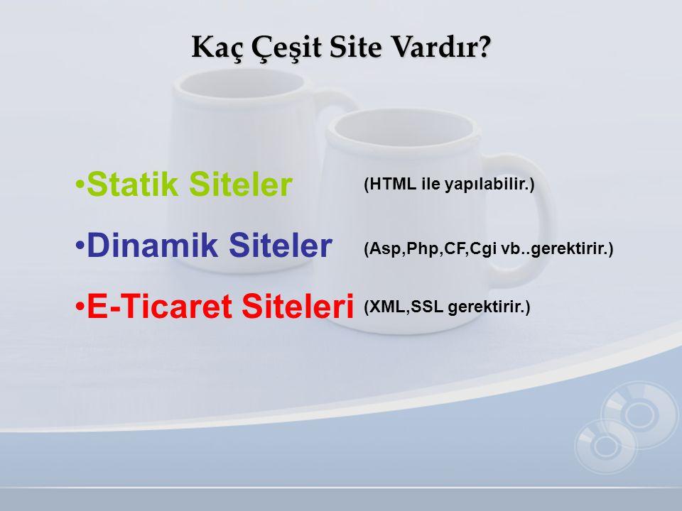 Statik Siteler Dinamik Siteler E-Ticaret Siteleri
