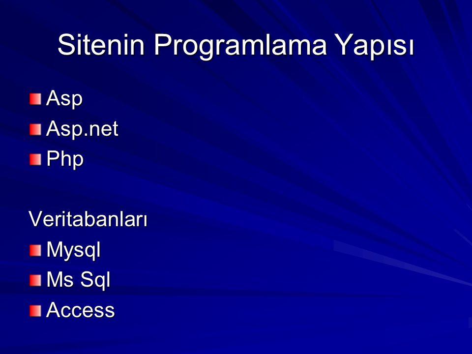 Sitenin Programlama Yapısı