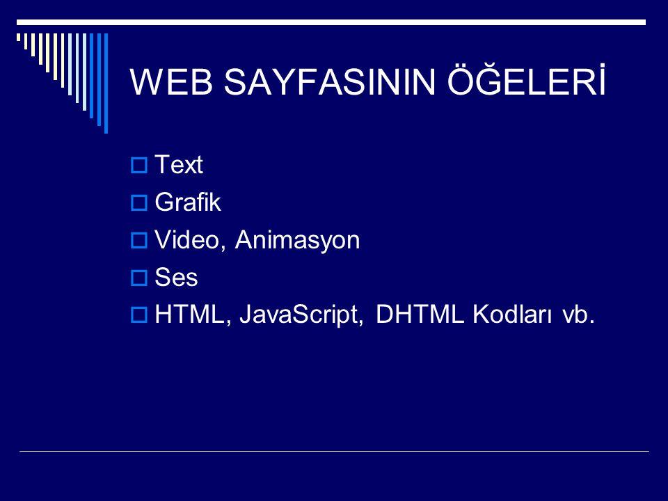 WEB SAYFASININ ÖĞELERİ