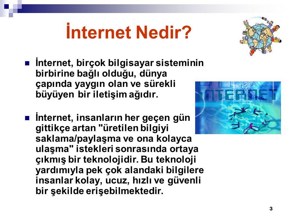 İnternet Nedir İnternet, birçok bilgisayar sisteminin birbirine bağlı olduğu, dünya çapında yaygın olan ve sürekli büyüyen bir iletişim ağıdır.