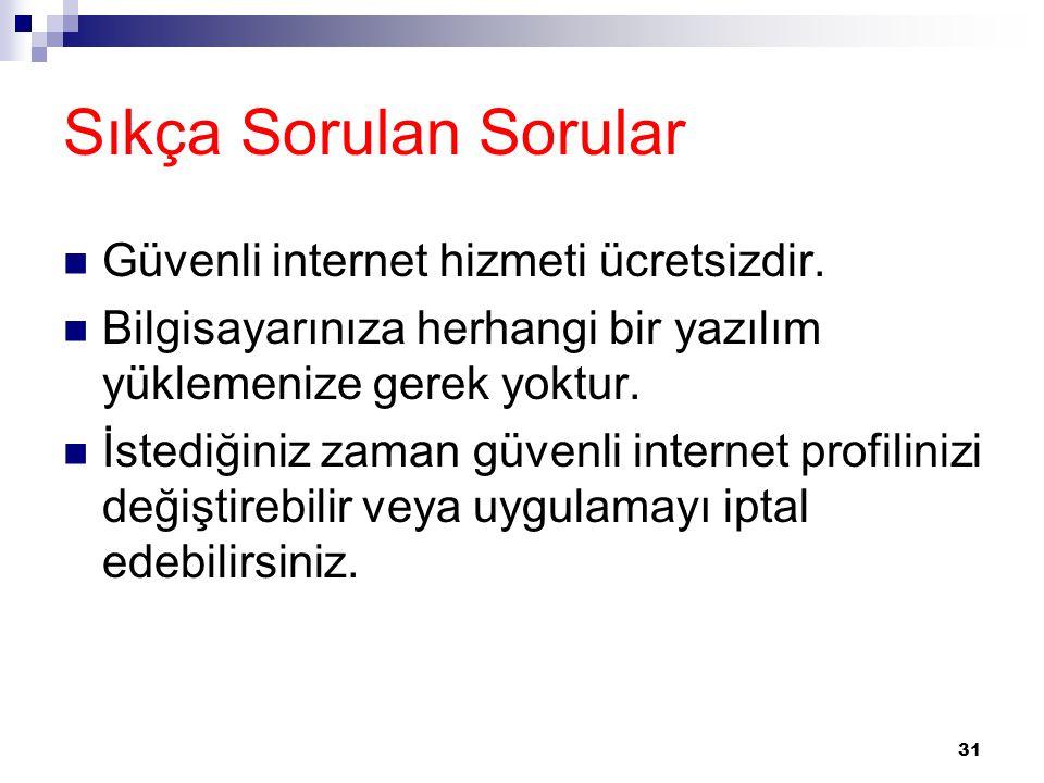 Sıkça Sorulan Sorular Güvenli internet hizmeti ücretsizdir.