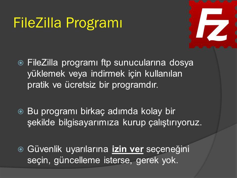FileZilla Programı FileZilla programı ftp sunucularına dosya yüklemek veya indirmek için kullanılan pratik ve ücretsiz bir programdır.