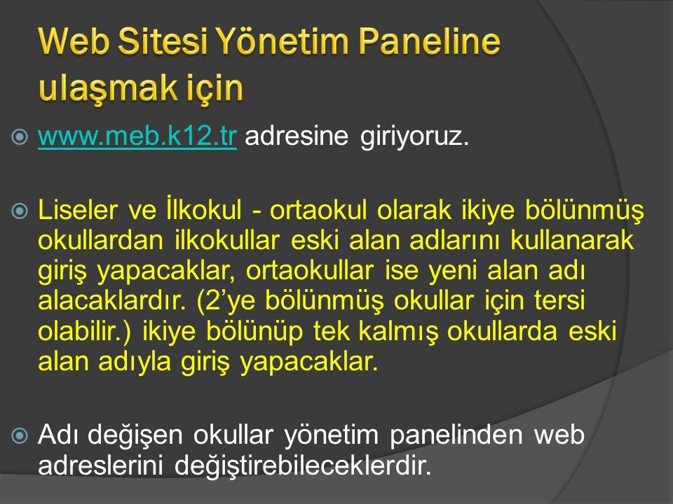 Web Sitesi Yönetim Paneline ulaşmak için