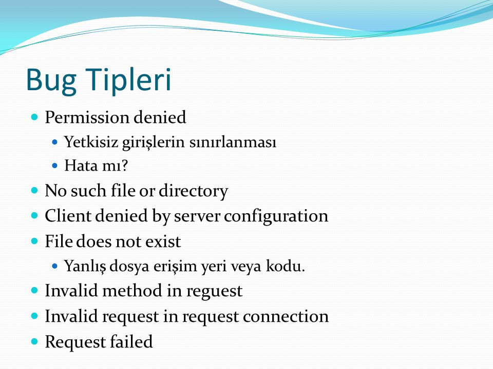 Bug Tipleri Permission denied No such file or directory